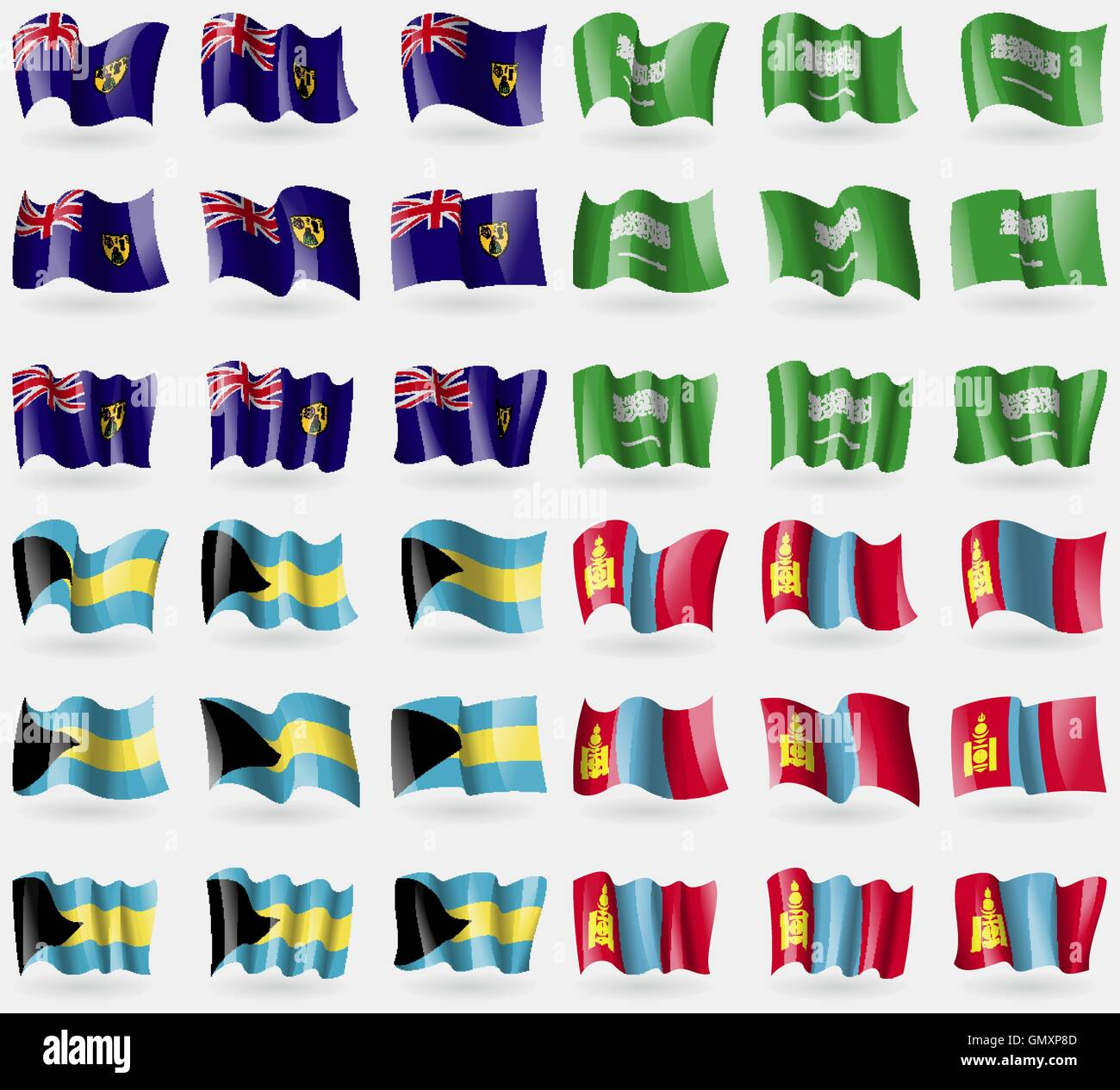 Turks and Caicos, Saudi Arabia, Bahamas, Mongolia. Set of 36 flags of the countries of the world. Vector - Stock Vector