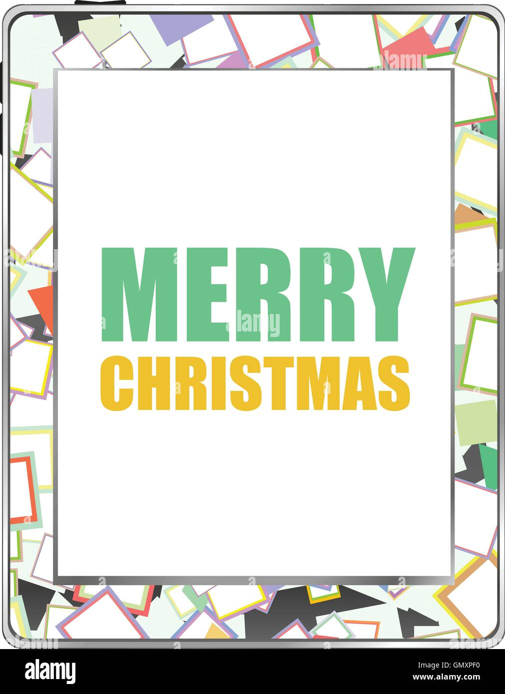 Smart Phone With Merry Christmas Greetings On The Screen Vector