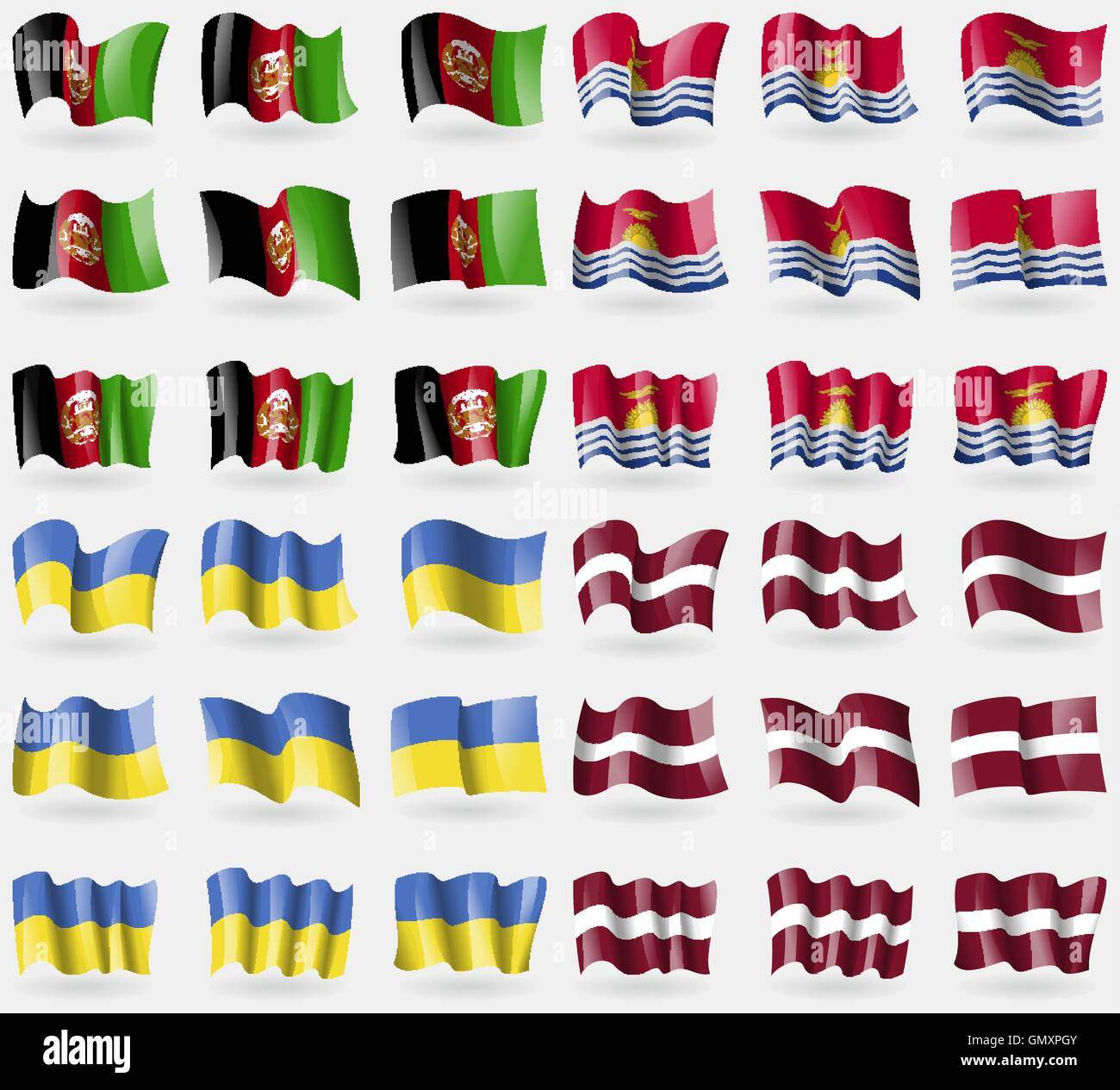 Afghanistan, Kiribati, Ukraine, Latvia. Set of 36 flags of the countries of the world. Vector - Stock Image