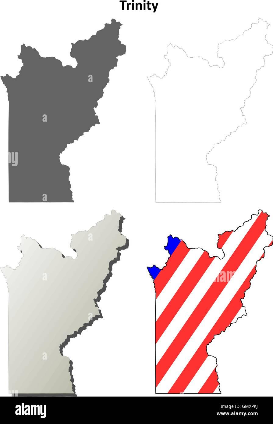 Trinity County, California outline map set - Stock Vector