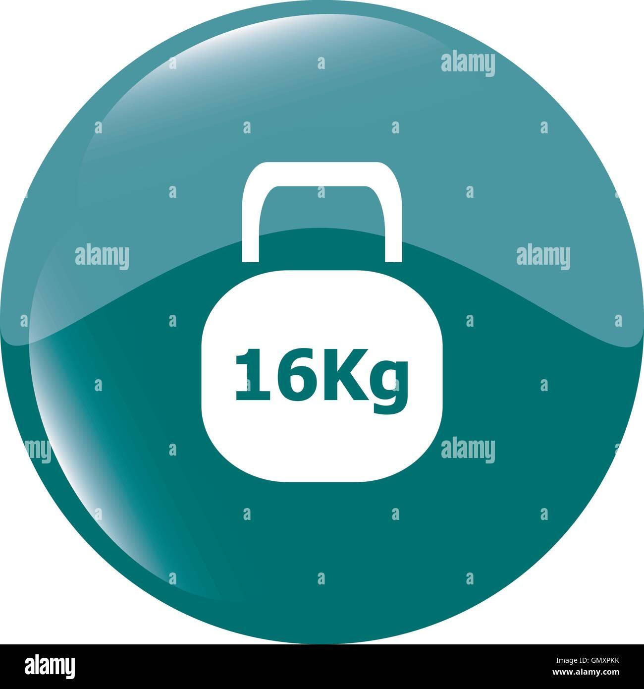 Weight sign icon. 16 kilogram (kg). Sport symbol. Fitness vector illustration - Stock Image