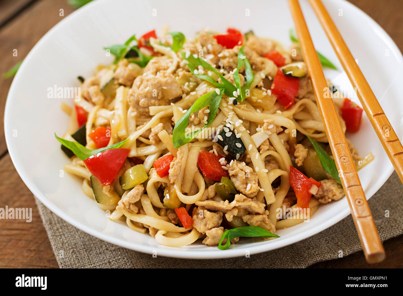 Udon noodles with meat and vegetables in an Asian style Stock Photo