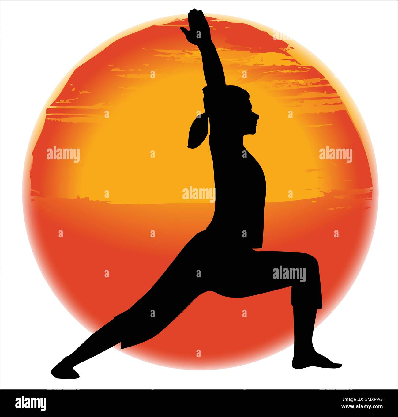 Virabhadra Yoga Pose - Stock Vector