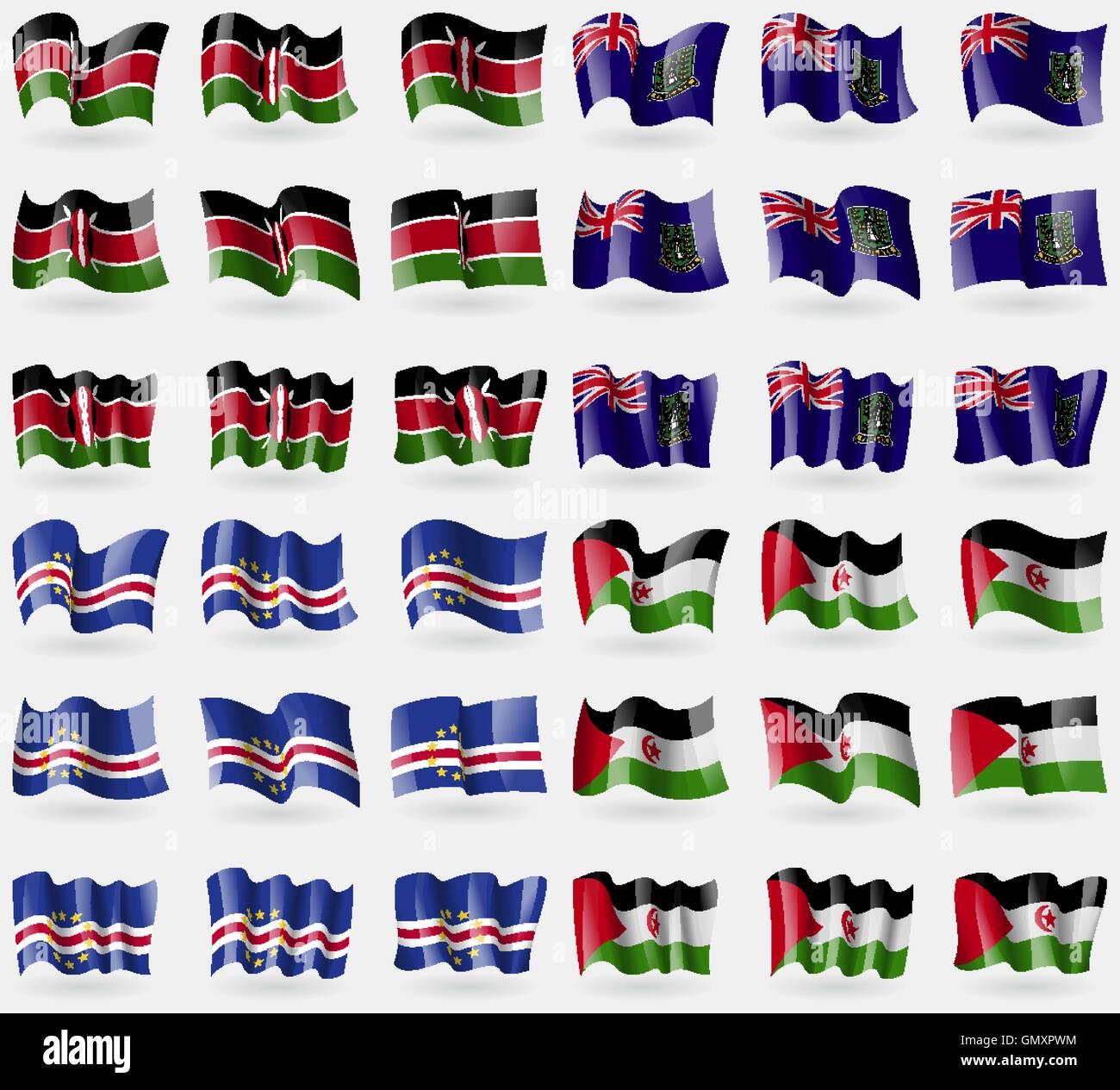 Kenya, VirginIslandsUK, Cape Verde, Western Sahara. Set of 36 flags of the countries of the world. Vector - Stock Image