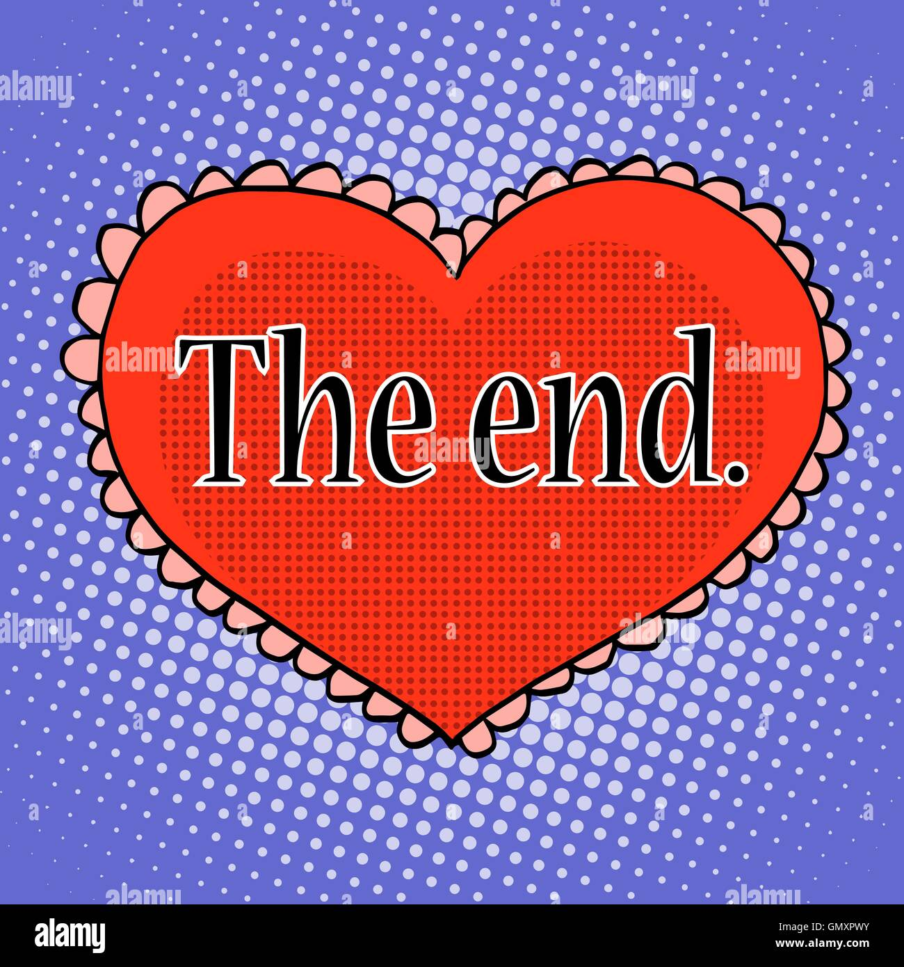 The end of love red heart - Stock Image