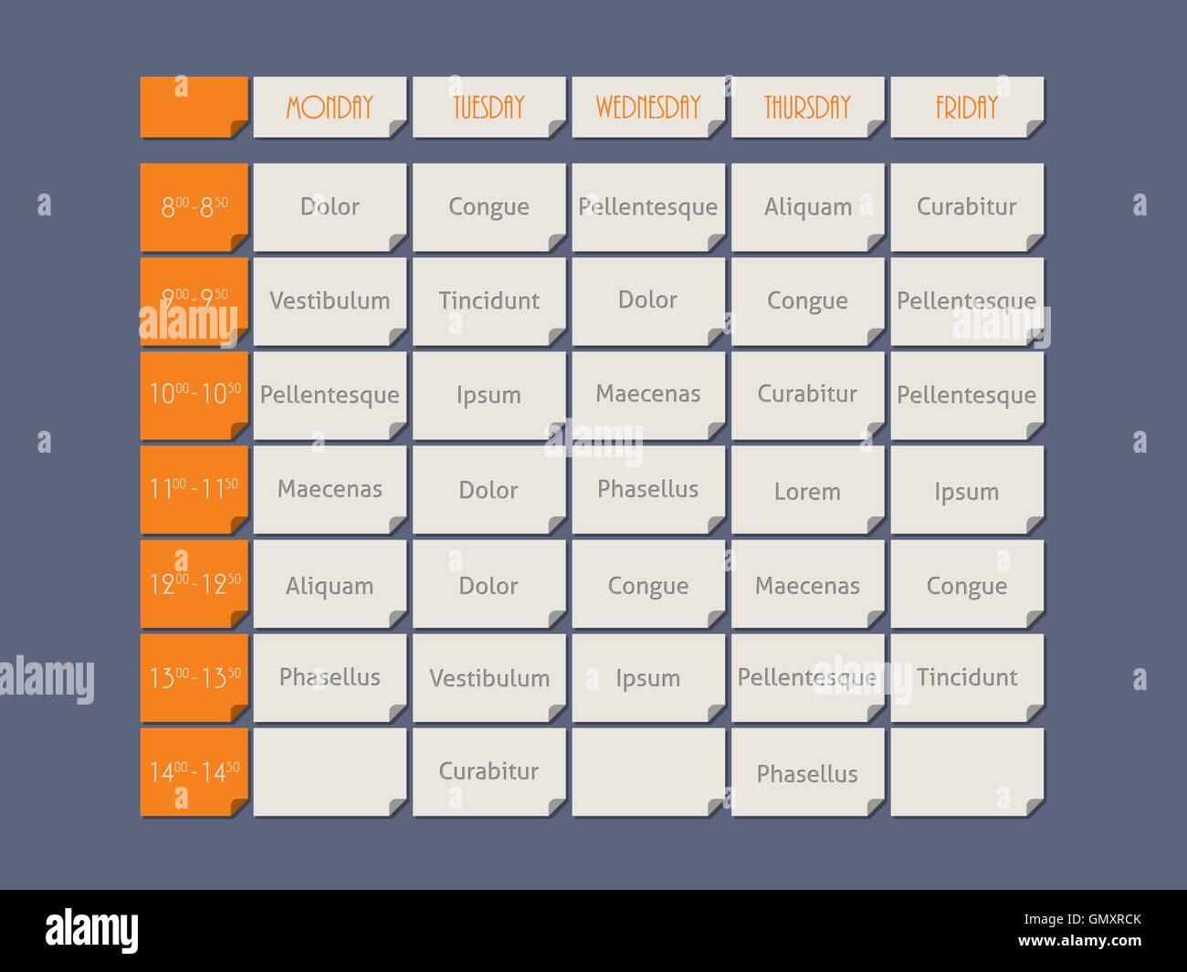 Orange Timetable Flat Style Sample Stock Photos & Orange Timetable ...