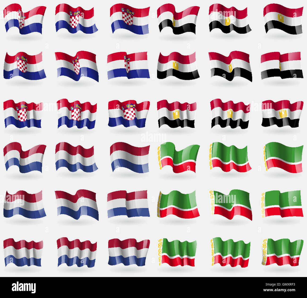 Croatia, Egypt, Netherlands, Chechen Republic. Set of 36 flags of the countries of the world. Vector - Stock Image