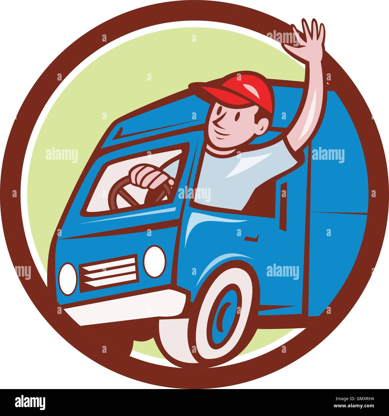 delivery man waving driving van circle cartoon stock vector art