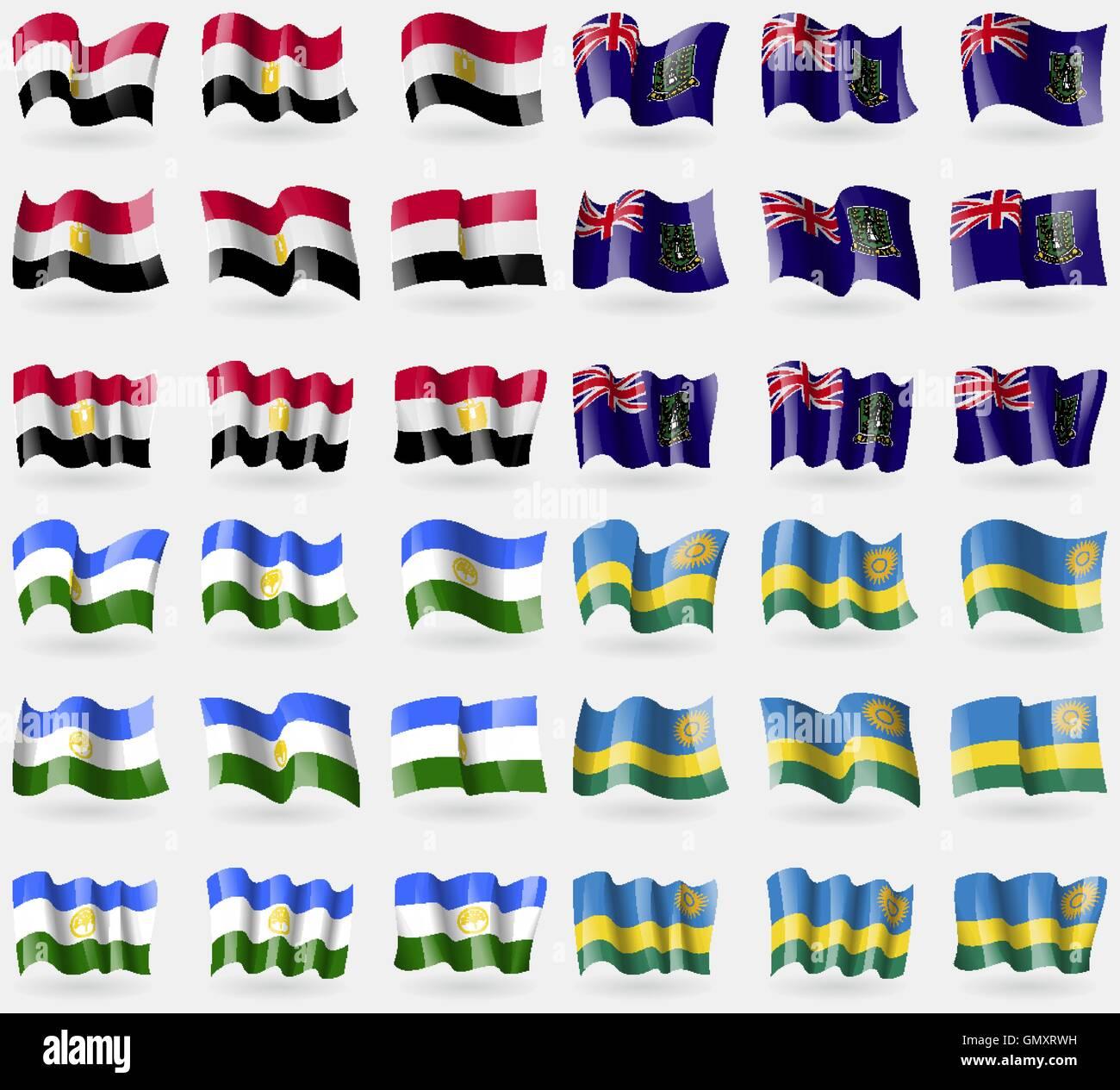 Egypt, VirginIslandsUK, Bashkortostan, Rwanda. Set of 36 flags of the countries of the world. Vector - Stock Vector
