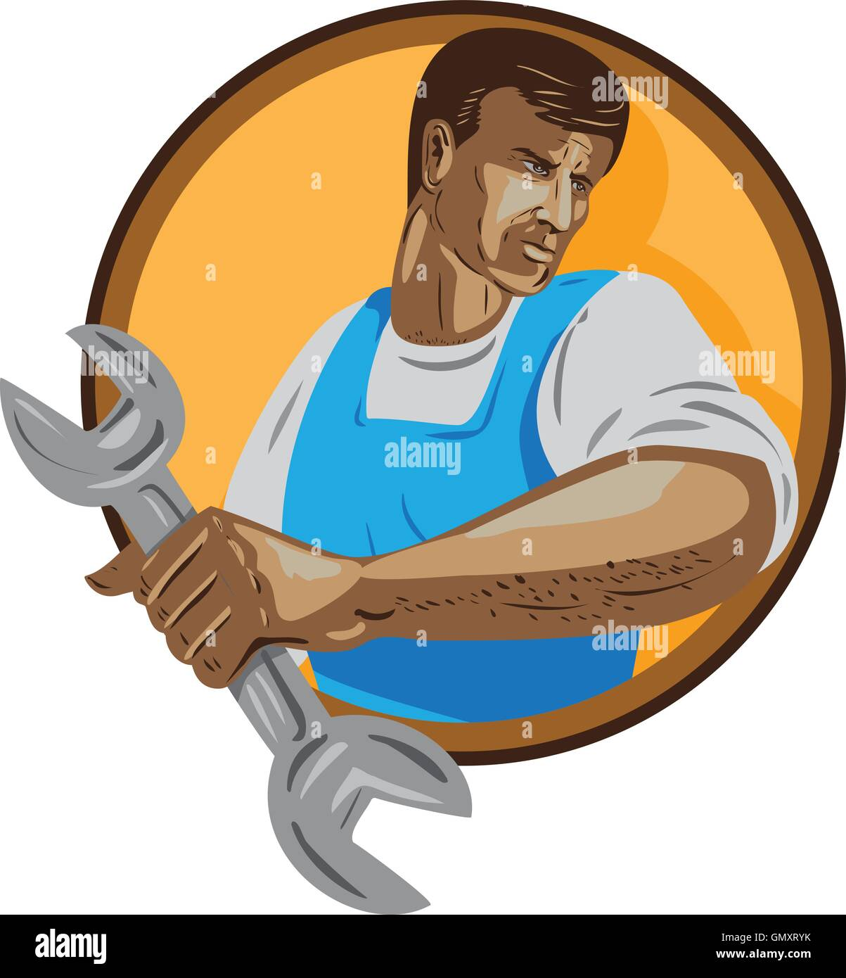 Mechanic Worker Holding Spanner Circle WPA - Stock Vector