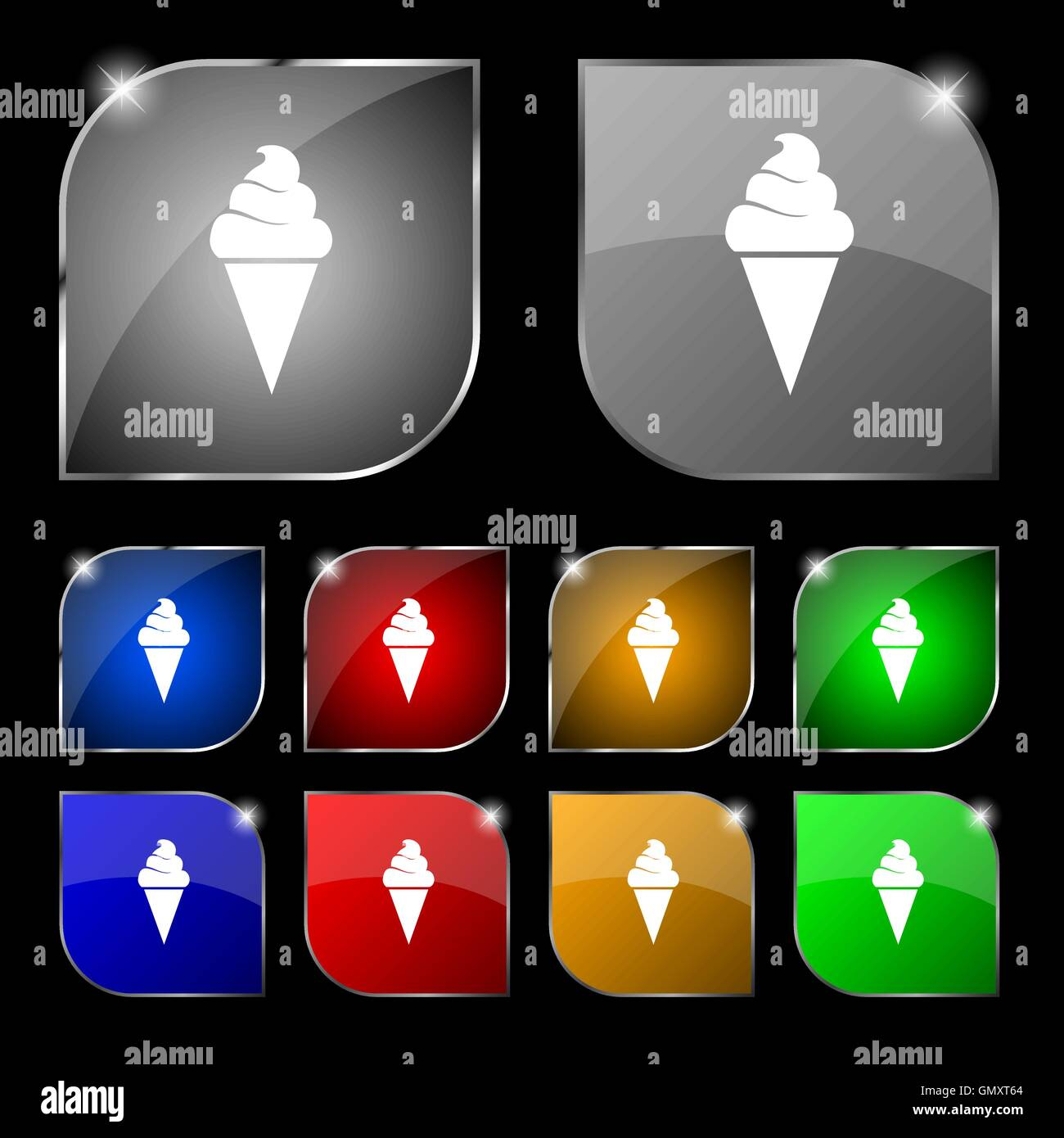 ice cream icon sign. Set of ten colorful buttons with glare. Vector - Stock Image