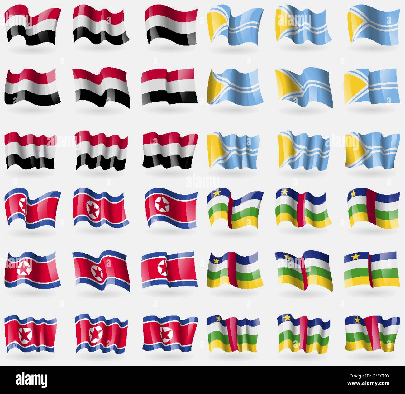 Yemen, Tuva, Korea North, Central African Republic. Set of 36 flags of the countries of the world. Vector - Stock Vector