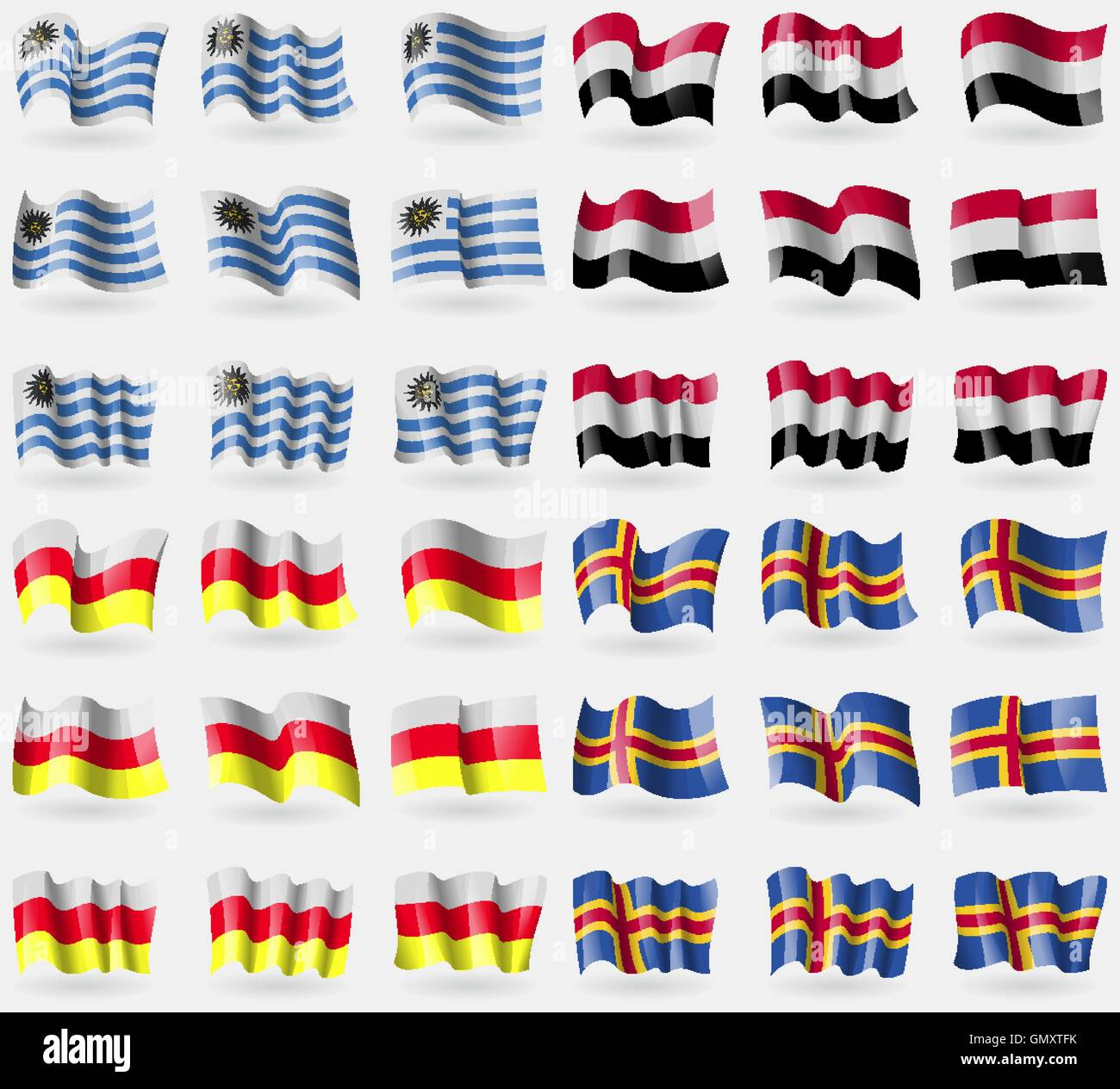 Uruguay,  Yemen, North Ossetia, Aland. Set of 36 flags of the countries of the world. Vector - Stock Image