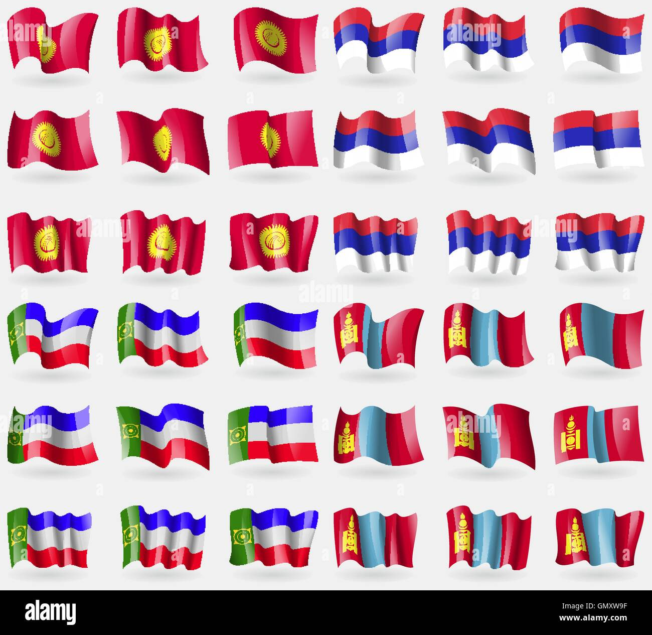 Kyrgyzstan, Republika Srpska, Khakassia, Mongolia. Set of 36 flags of the countries of the world. Vector - Stock Vector