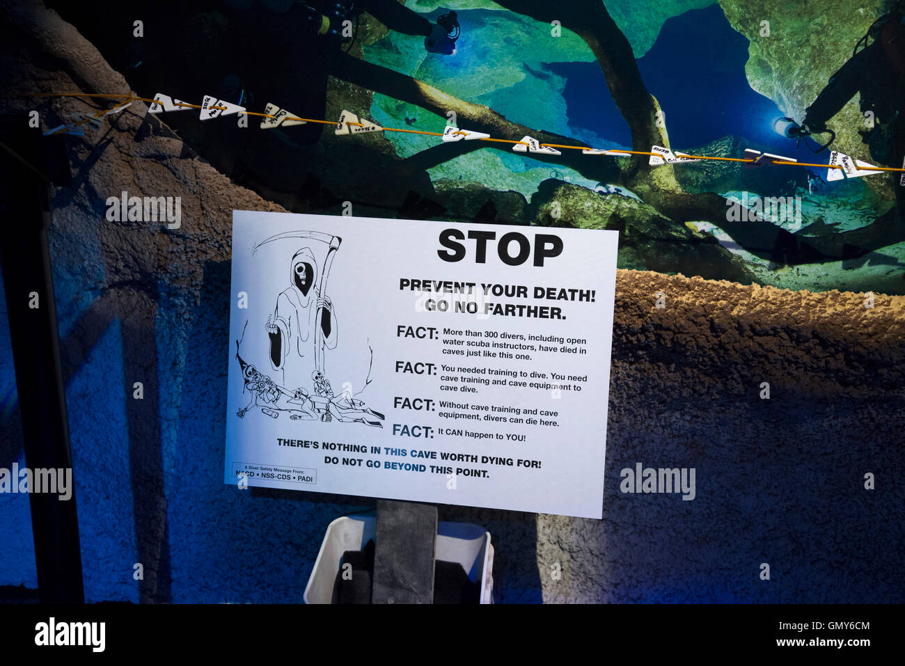 Exhibit of Florida's  freshwater cave and cavern systems and the explorers who dive into their depths and what - Stock Image