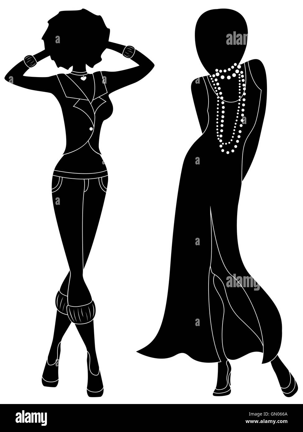 Attractive graceful ladies in long gown and in pants, hand drawing ...