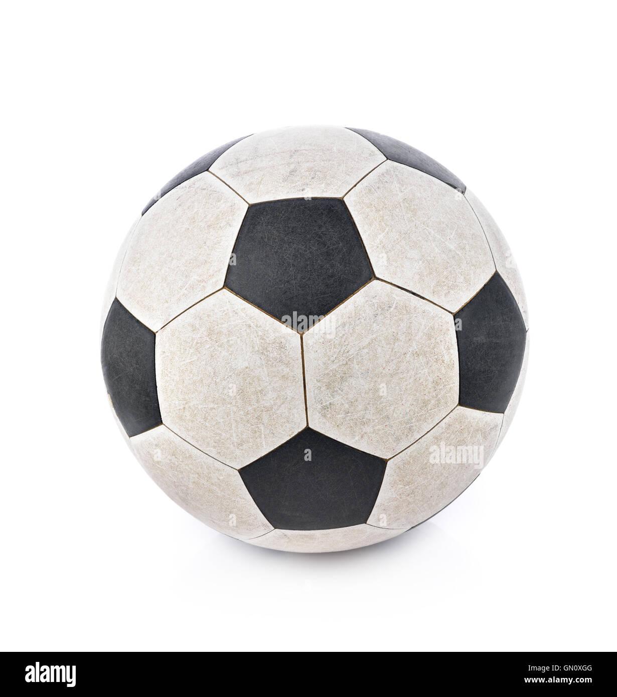 Shabby soccer ball on white background - Stock Image