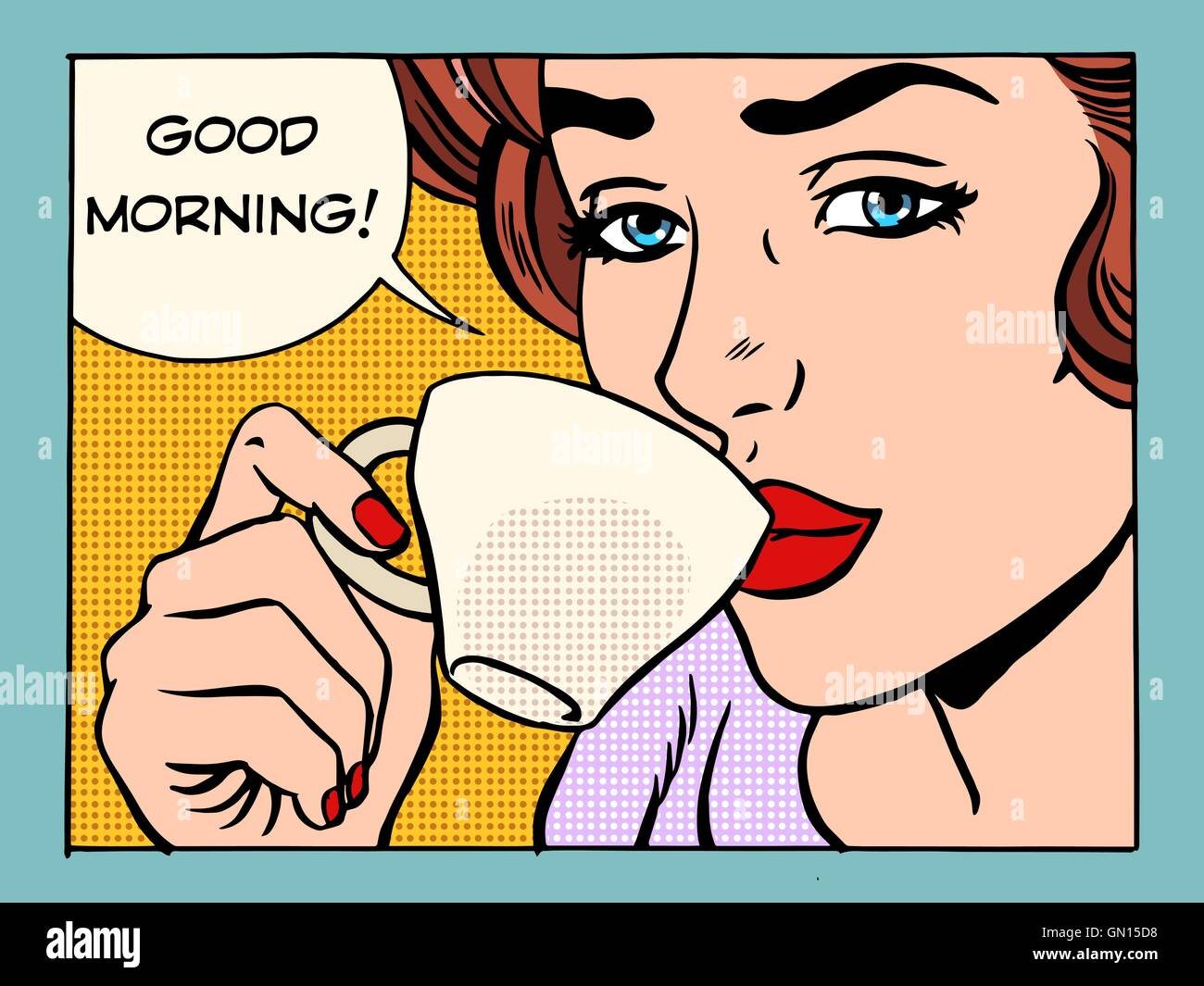 Good morning girl with Cup of coffee - Stock Vector