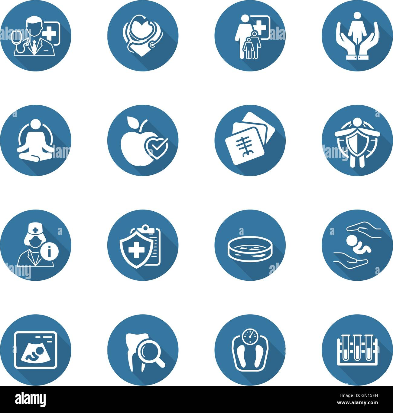 Medical and Health Care Icons Set. Flat Design. - Stock Image