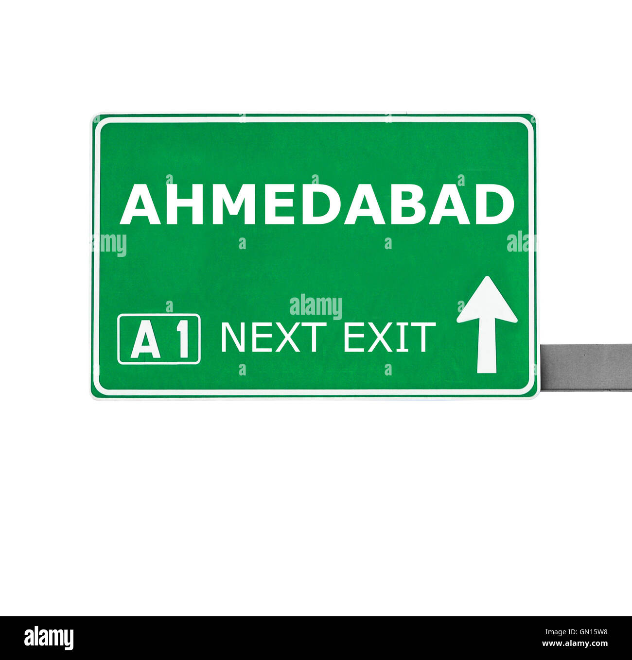 AHMEDABAD road sign isolated on white - Stock Image