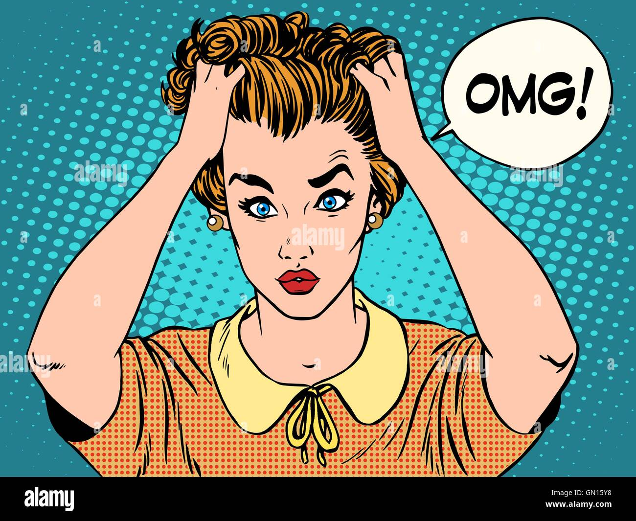 OMG the woman in shock - Stock Vector