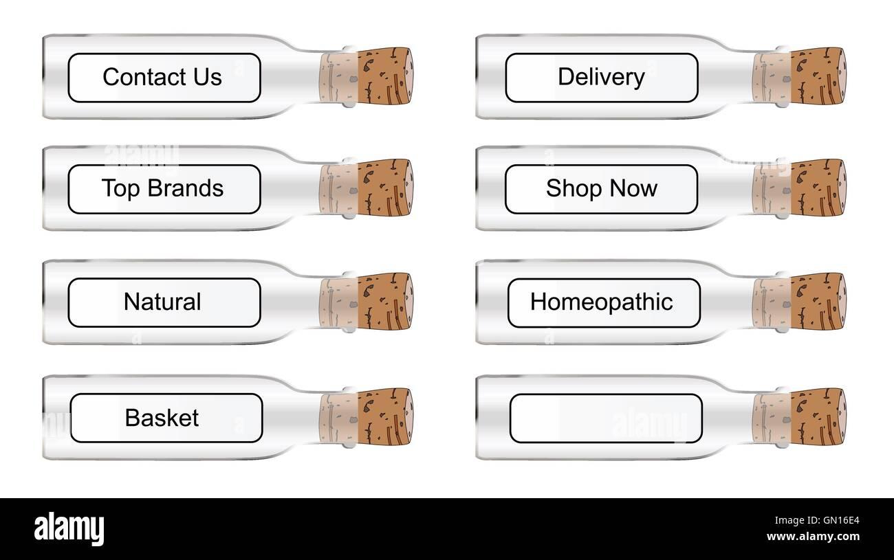 Chemist Style Web Labels - Stock Vector