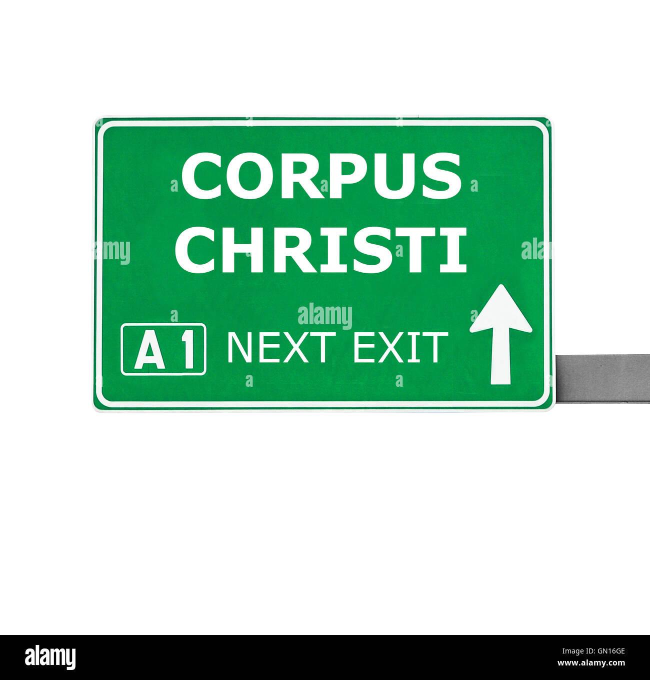 CORPUS CHRISTI road sign isolated on white - Stock Image