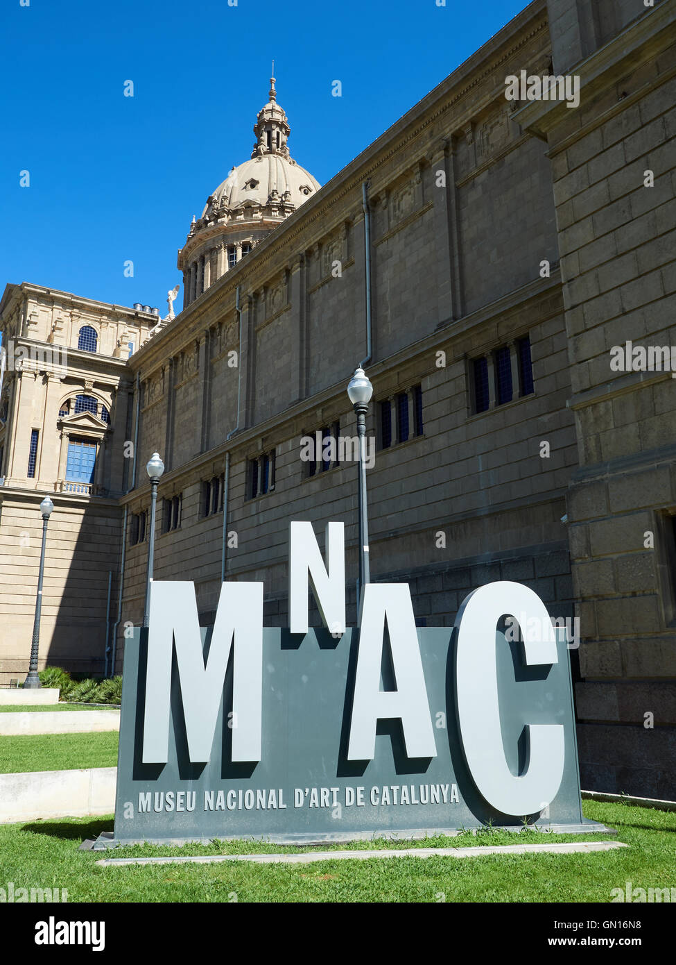 Detail of external views of MNAC Barcelona - Stock Image