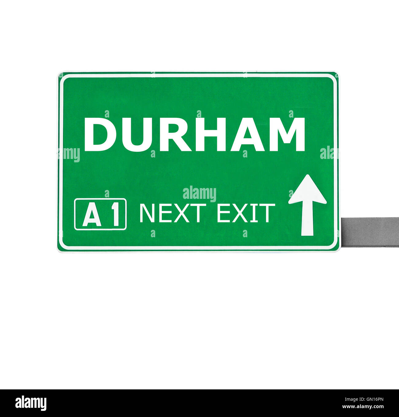 DURHAM road sign isolated on white - Stock Image