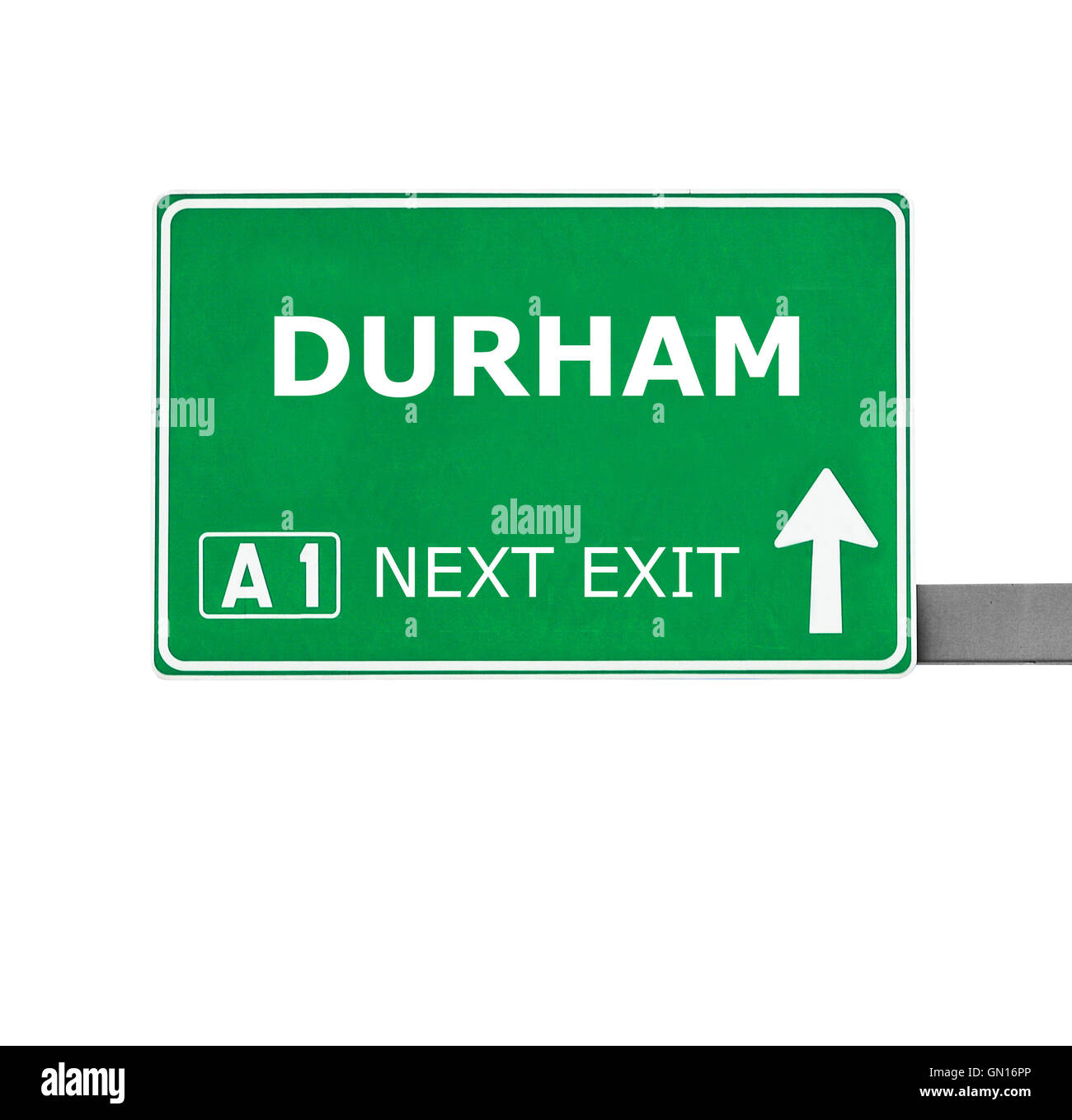 DURHAM road sign against isolated on white - Stock Image