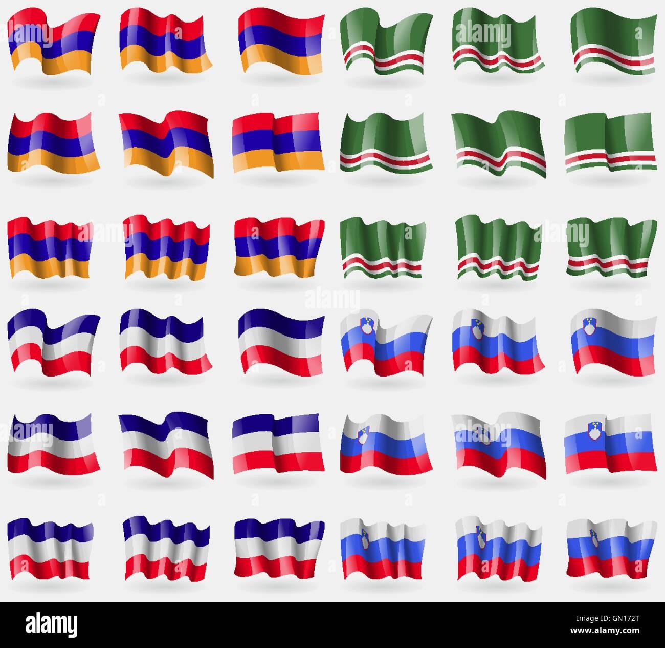 Armenia, Chechen Republic of Ichkeria, Los Altos, Slovenia. Set of 36 flags of the countries of the world. Vector - Stock Image