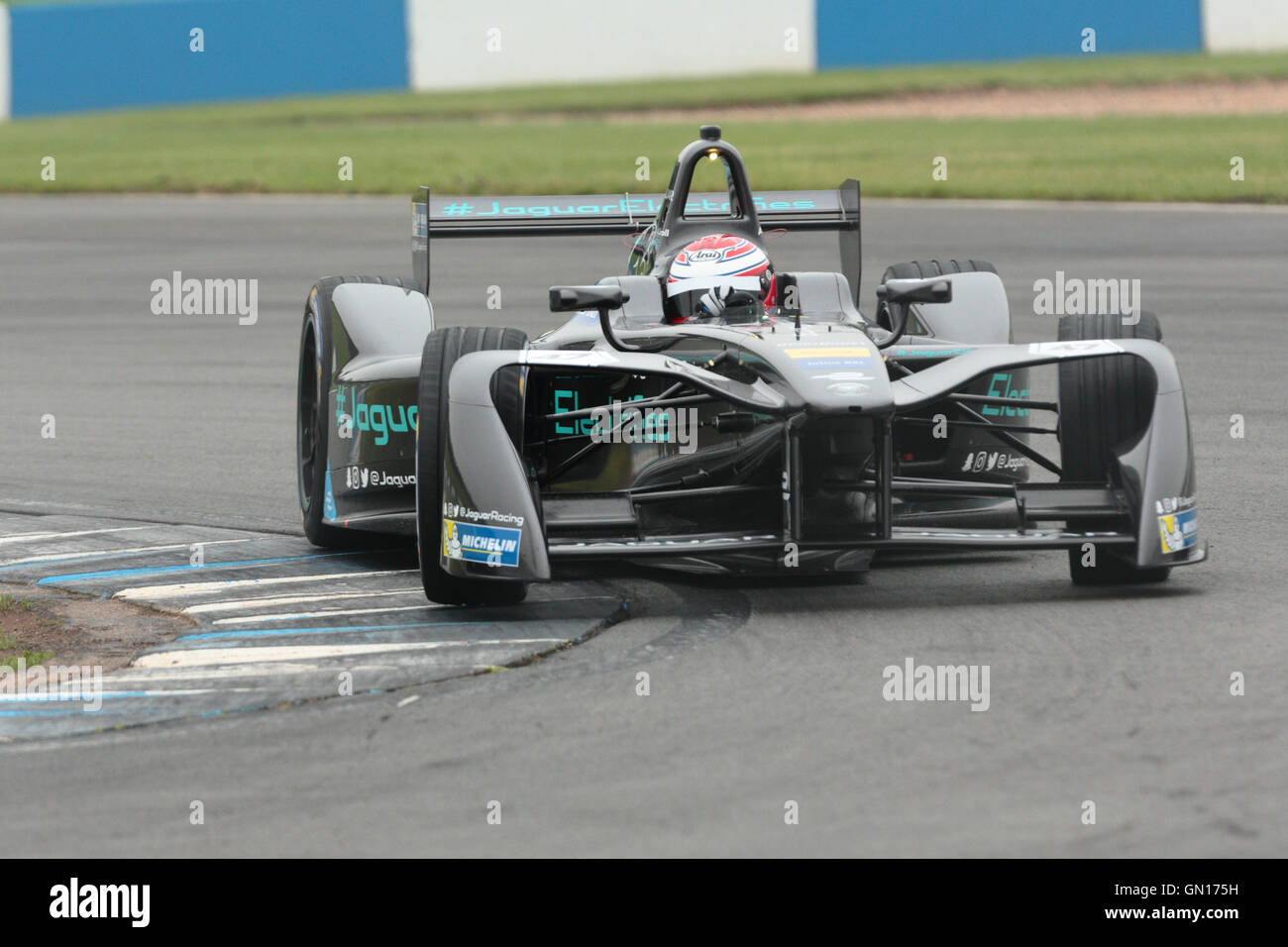 Adam Carroll driving during a testing day for the Formula E motor racing series.  Editorial use only. - Stock Image