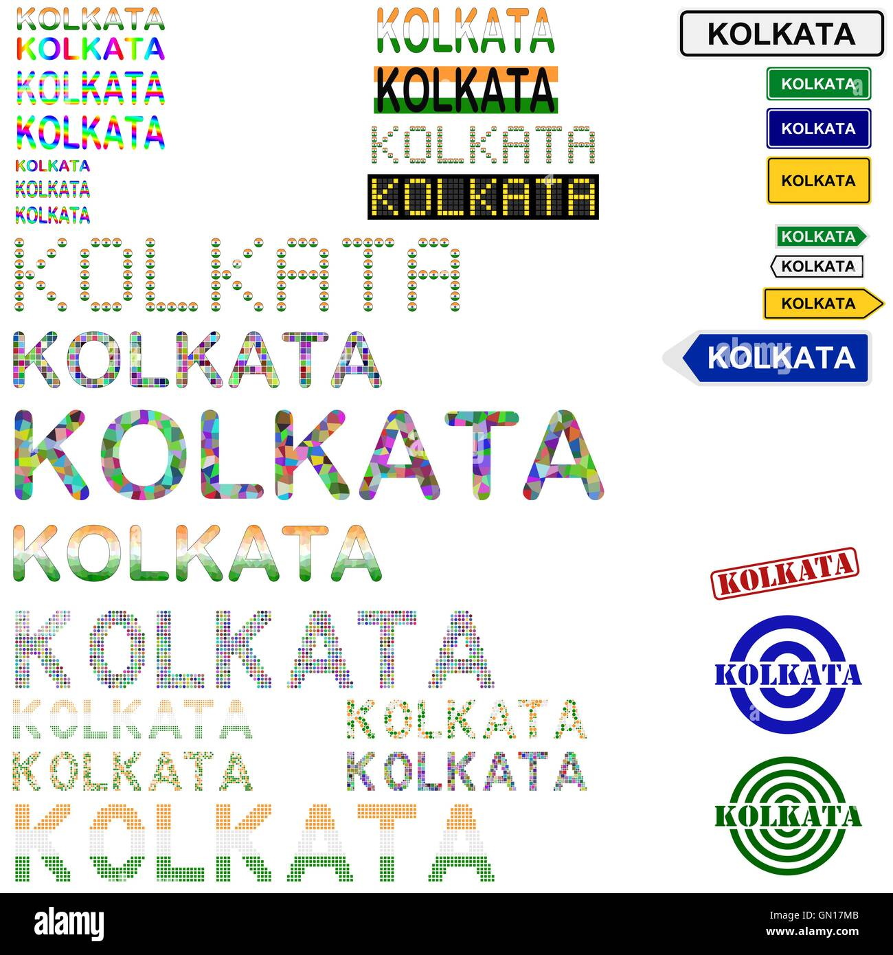 Kolkata (Calcutta) text design set - Stock Vector