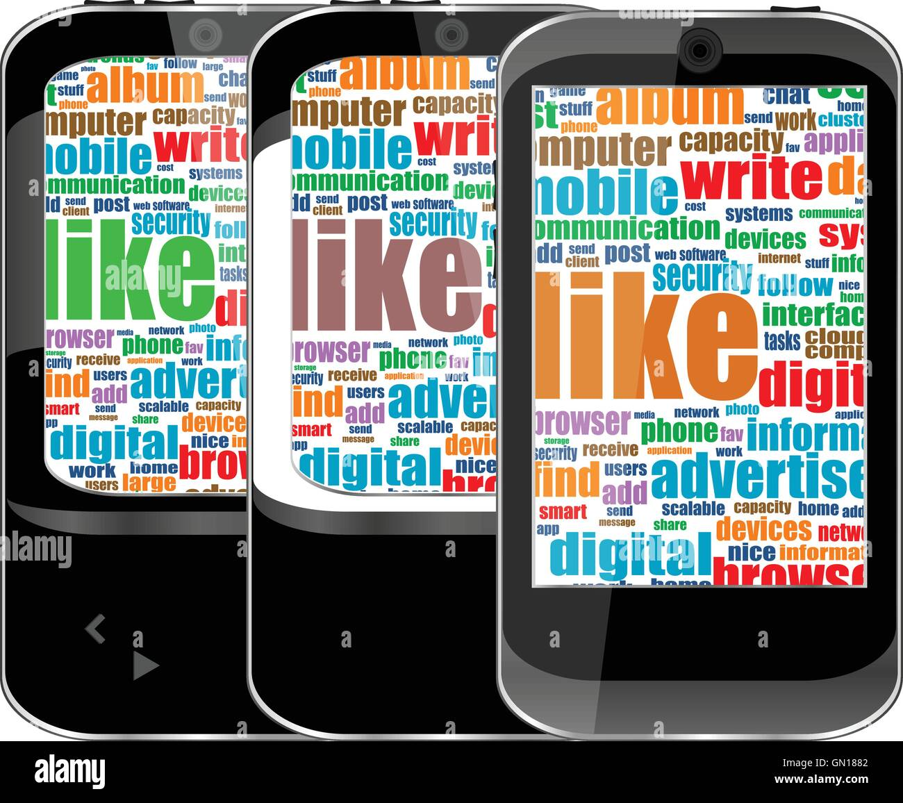 Smartphone Set With Social Media Word Cloud Computing Symbol On A