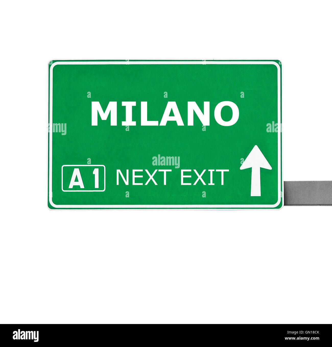 MILANO road sign isolated on white - Stock Image