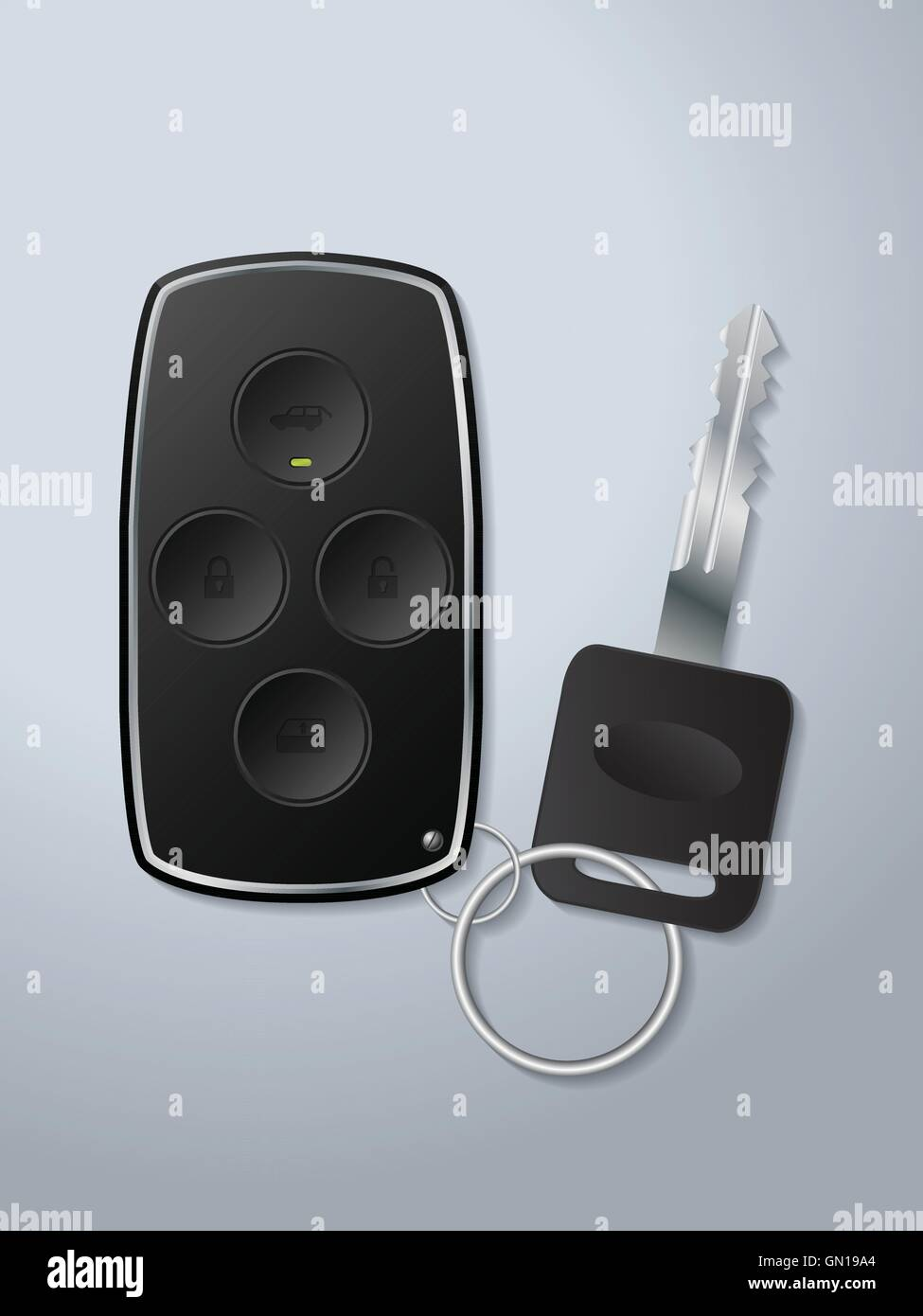 Car remote key with circle shaped buttons - Stock Vector