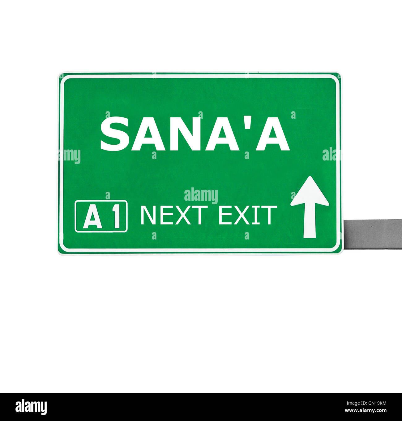SANA'A road sign isolated on white - Stock Image