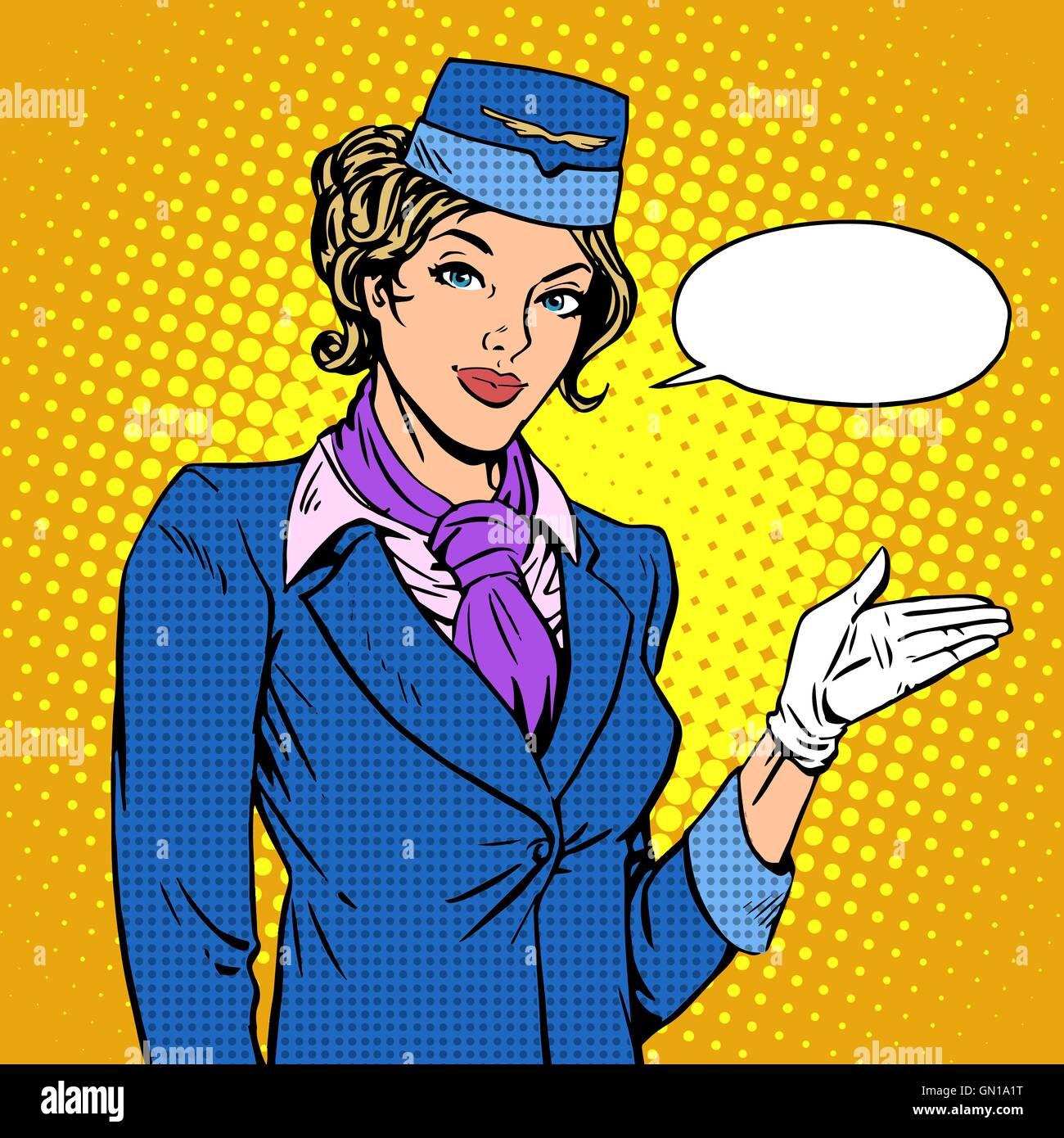 Stewardess airline invites you to Board - Stock Vector