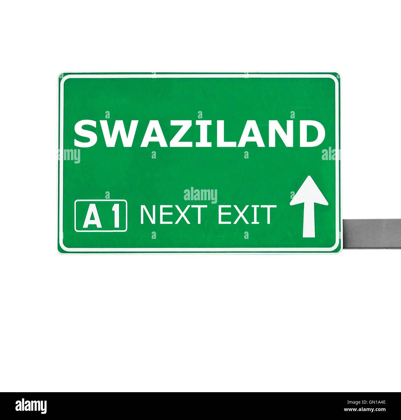 SWAZILAND Sroad sign isolated on white Stock Photo