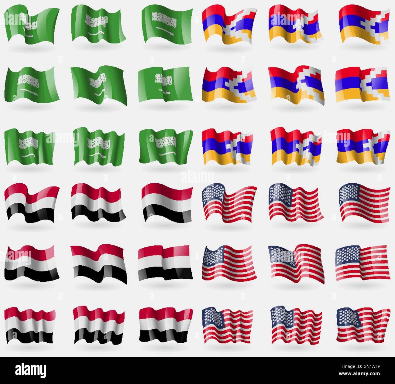 Saudi Arabia, Karabakh Republic, Yemen, USA. Set of 36 flags of the countries of the world. Vector - Stock Vector