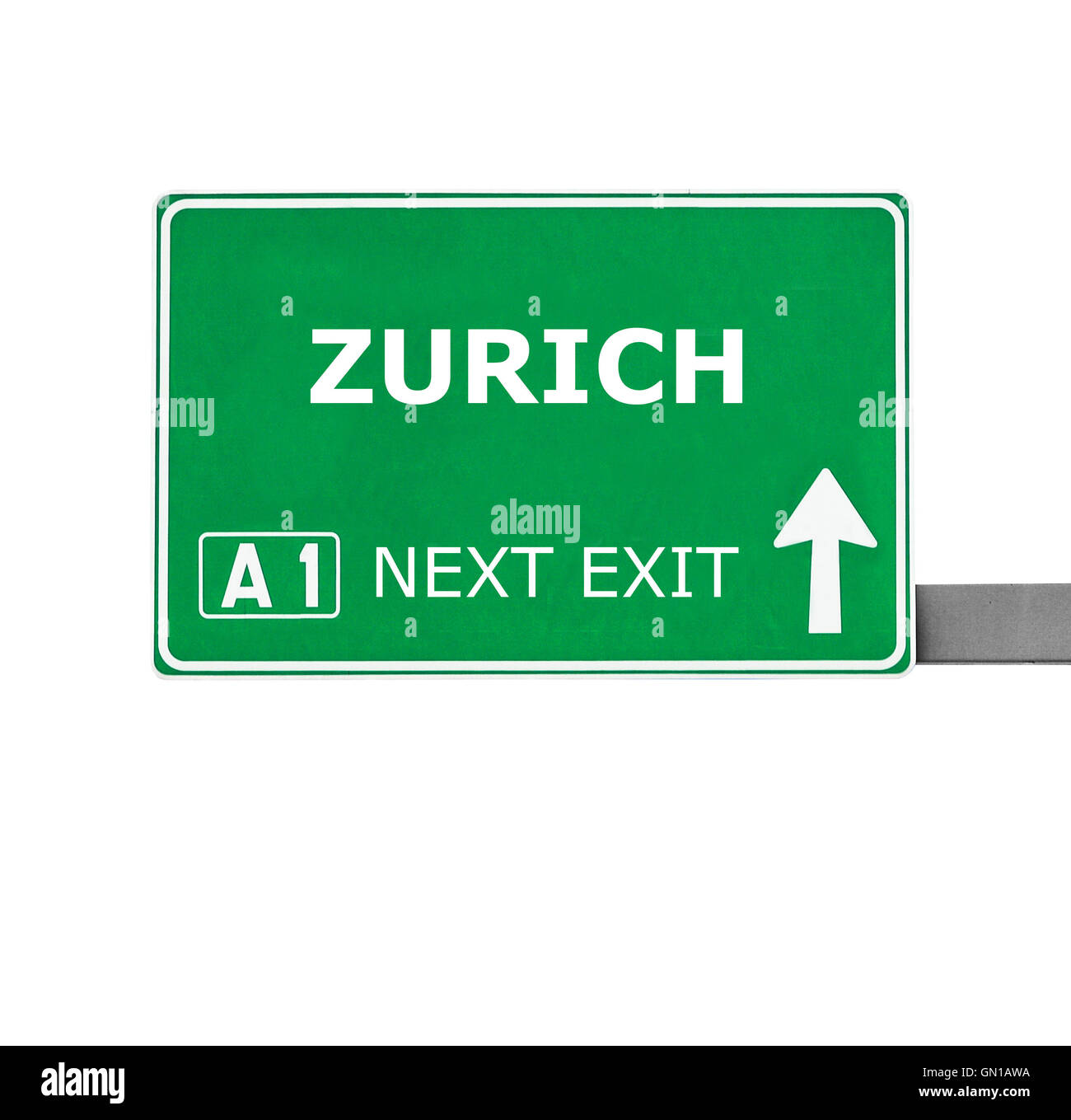 ZURICH road sign isolated on white - Stock Image
