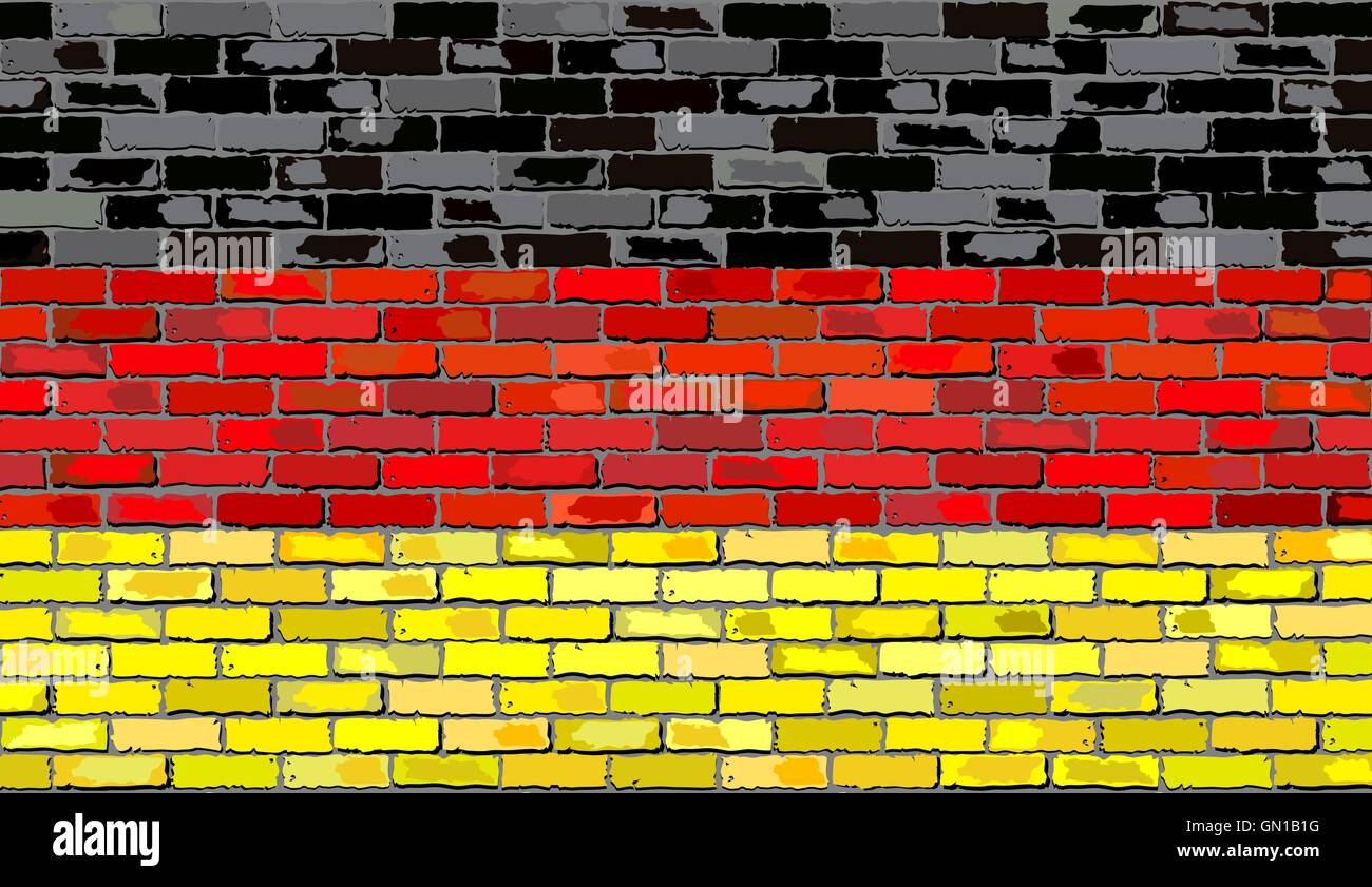 Flag of Germany on a brick wall - Stock Vector