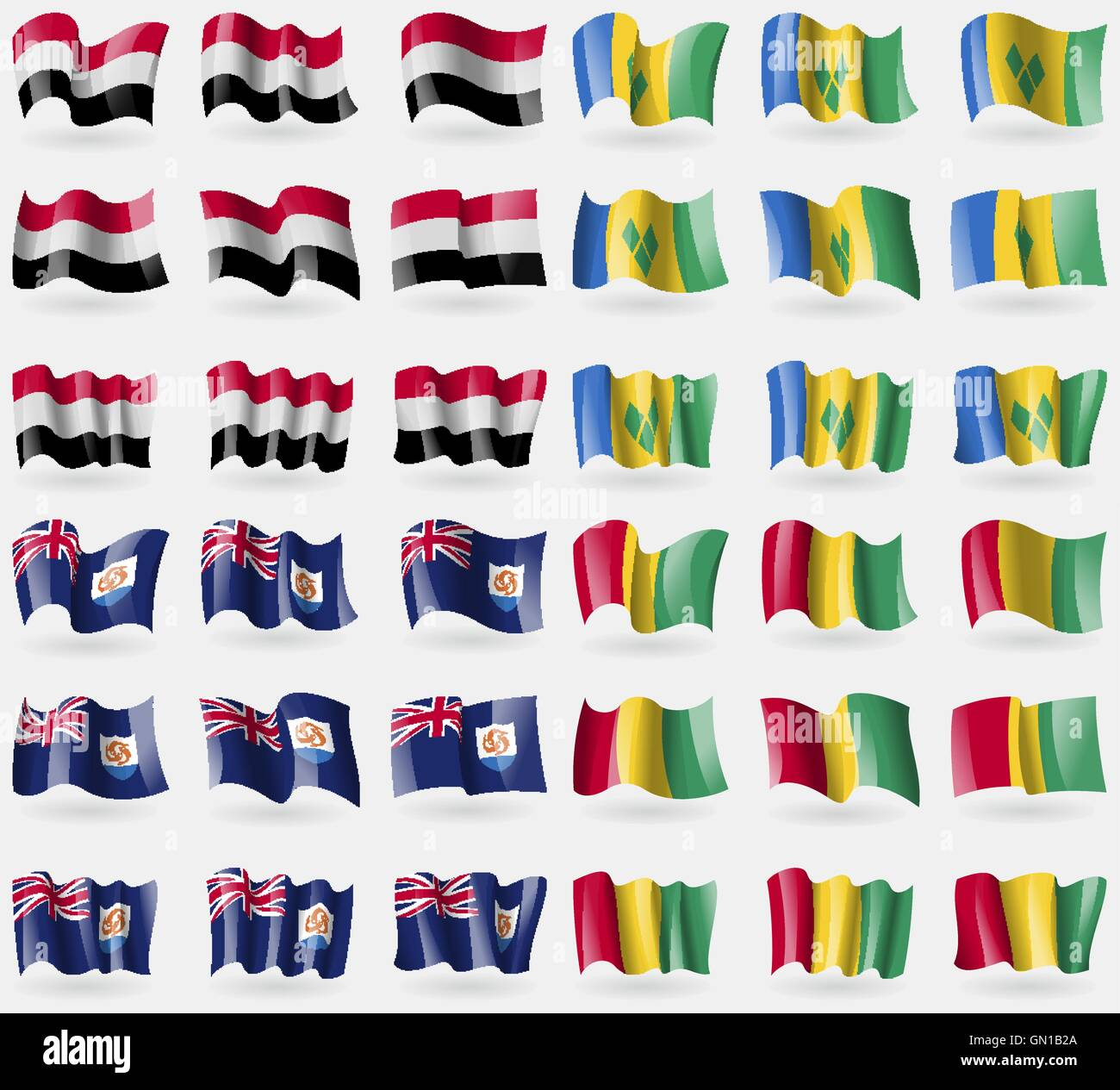 Yemen, Saint Vincent and Grenadines, Anguilla, Guinea. Set of 36 flags of the countries of the world. Vector - Stock Vector