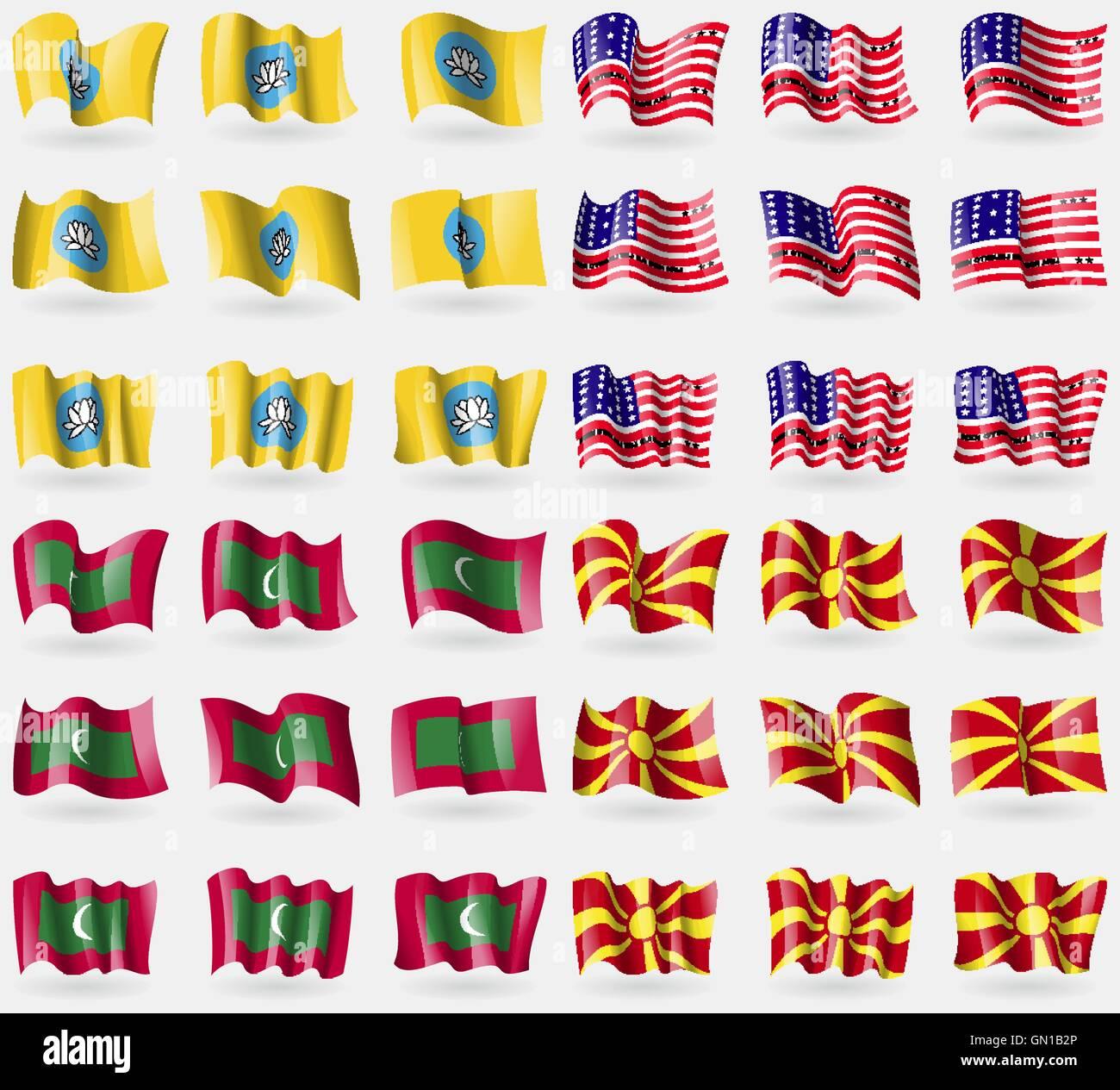 Kalmykia, Bikini Atoll, Maldives, Macedonia. Set of 36 flags of the countries of the world. Vector - Stock Image