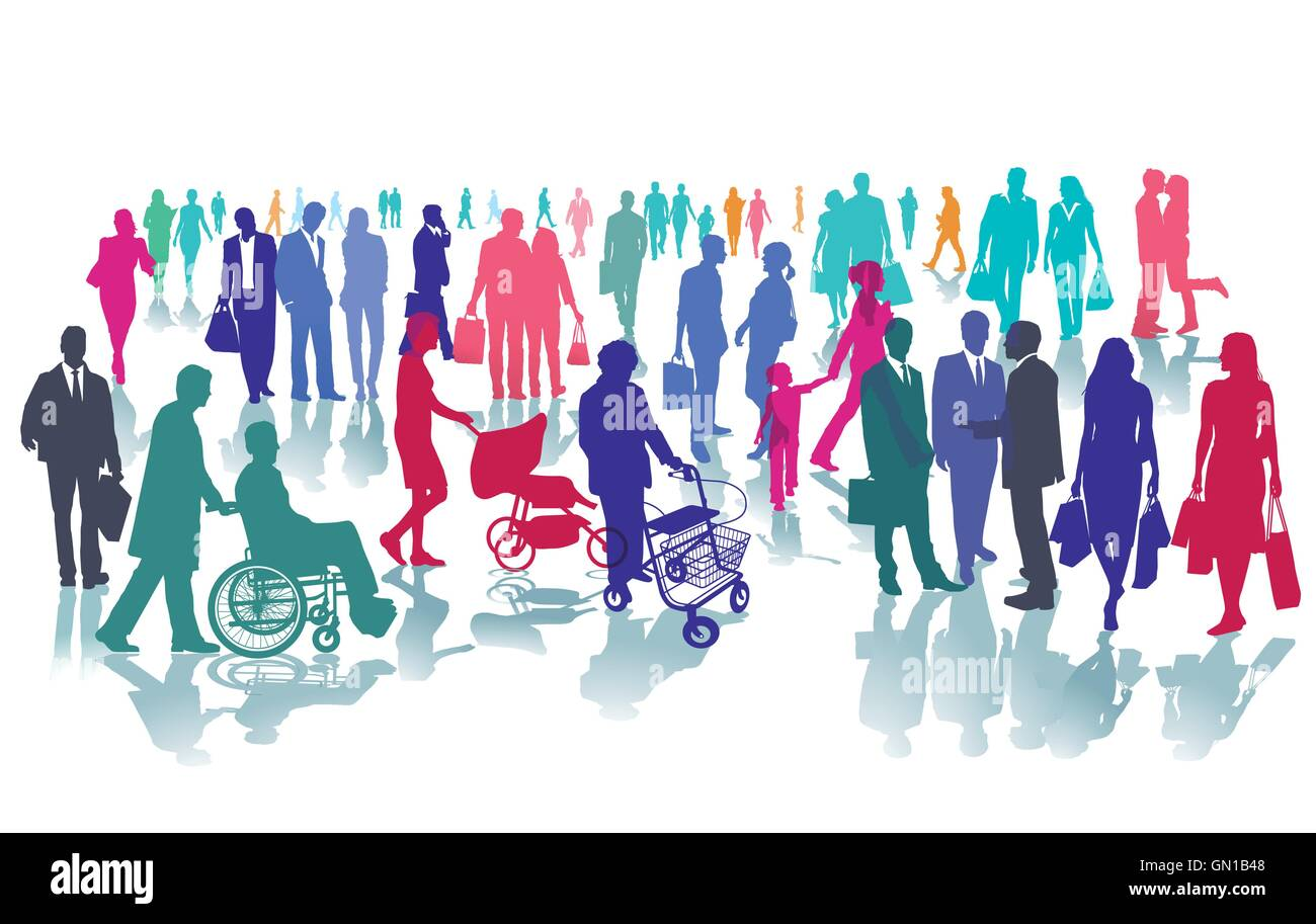 People in one place - Stock Image