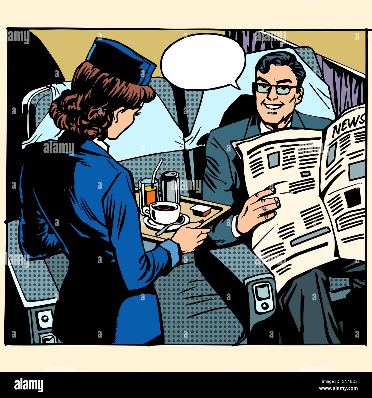 business class plane breakfast stewardess businessman - Stock Vector