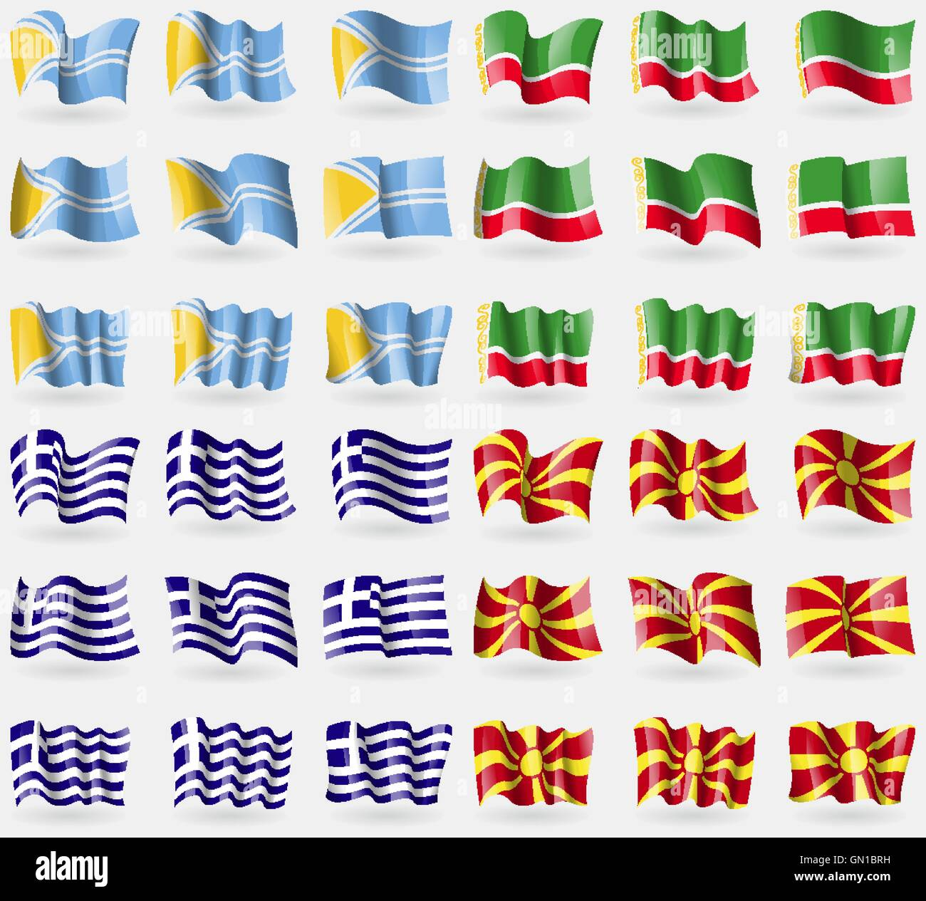 Tuva, Chechen Republic, Greece, Macedonia. Set of 36 flags of the countries of the world. Vector - Stock Image