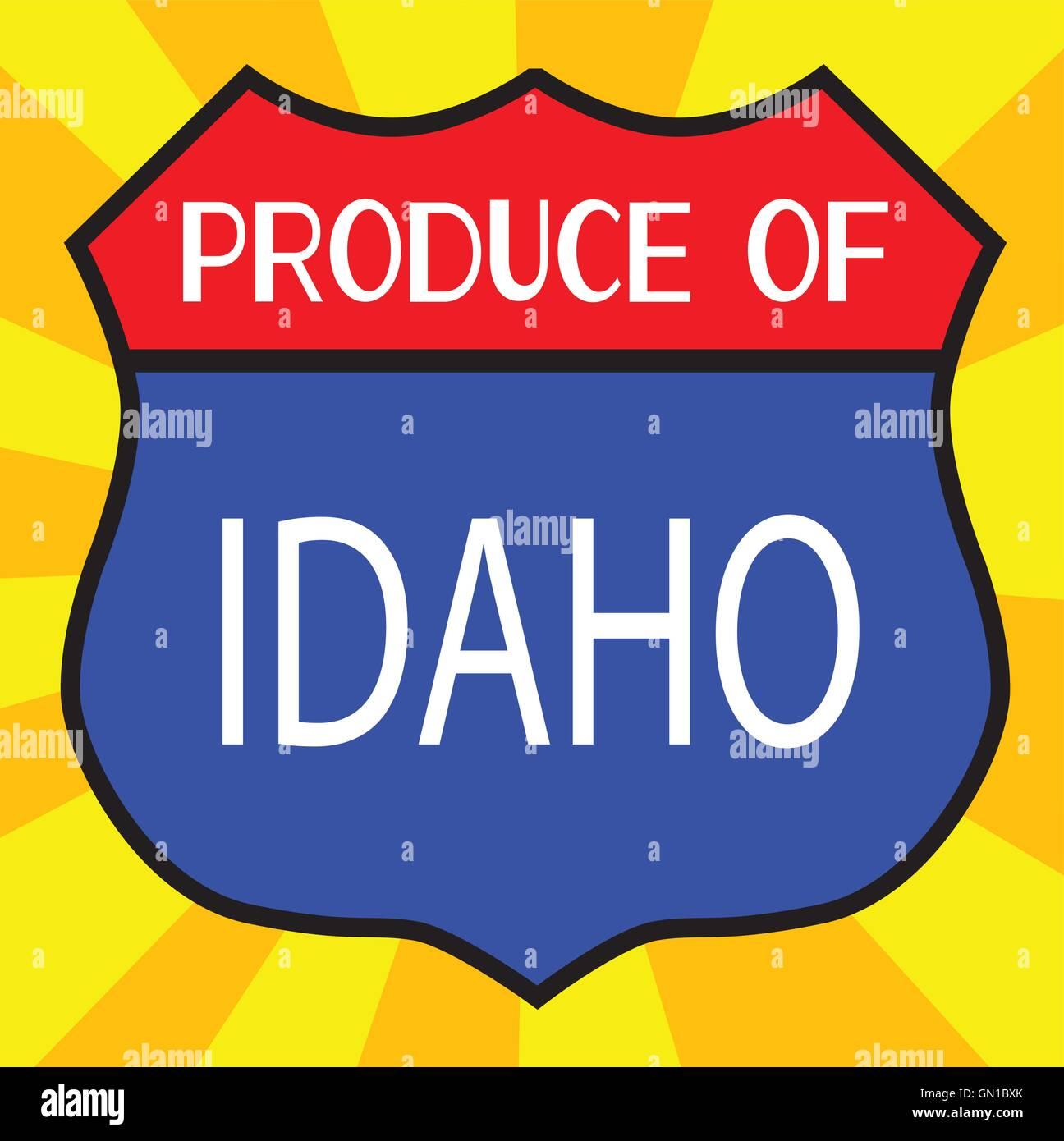 Produce Of Idaho Shield - Stock Vector