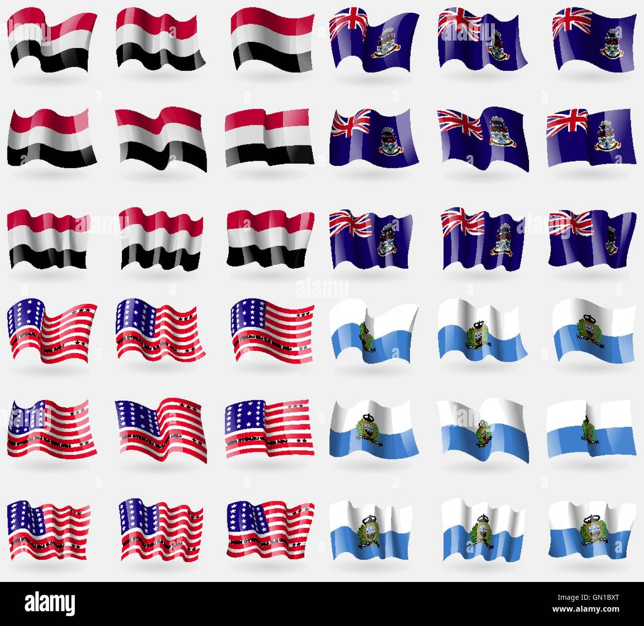 Yemen, Cayman Islands, Bikini Atoll, San Marino. Set of 36 flags of the countries of the world. Vector - Stock Vector