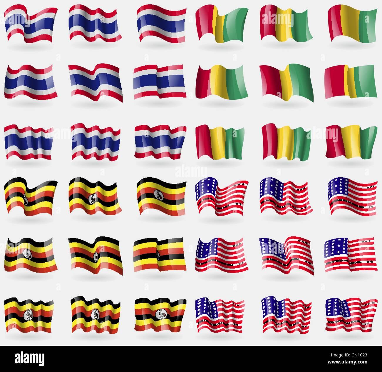 Thailand, Guinea, Uganda, Bikini Atoll. Set of 36 flags of the countries of the world. Vector - Stock Image